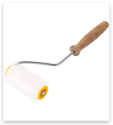 ETSAMOR Uncapping Needle Roller Plastic Honey Extracting Tool with wooden Handle for Beekeeper Comb Tool